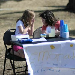 fundraising lemonade stand 2 girls
