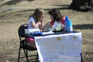 fundraising lemonade stand 2 girls